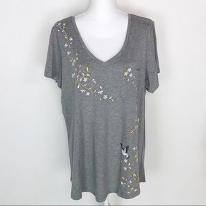TORRID Gray Embroidered T-Shirt